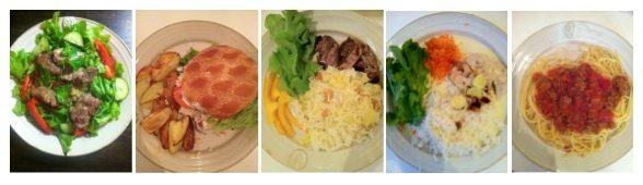 Bilder på en veckas middagar från Godmiddags matkasse